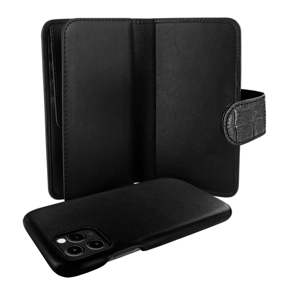Piel Frama iPhone 11 Pro Max WalletMagnum Leather Case - Black Cowskin-Crocodile