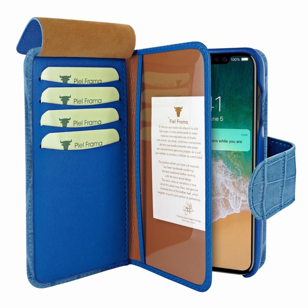 Piel Frama iPhone 11 Pro Max WalletMagnum Leather Case - Blue Cowskin-Crocodile