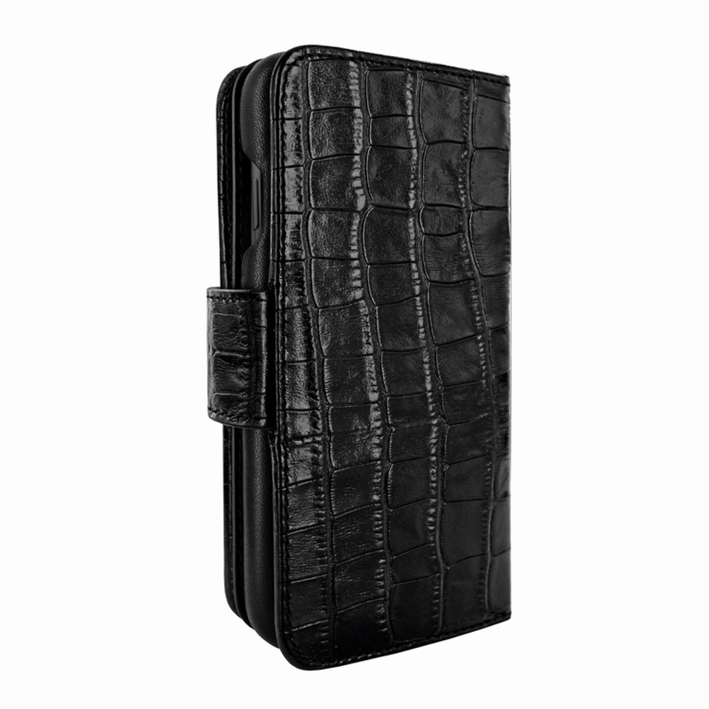 Piel Frama iPhone 11 Pro WalletMagnum Leather Case - Black Cowskin-Crocodile