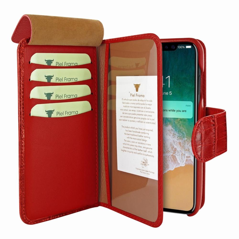 Piel Frama iPhone 11 Pro WalletMagnum Leather Case - Red Cowskin-Crocodile