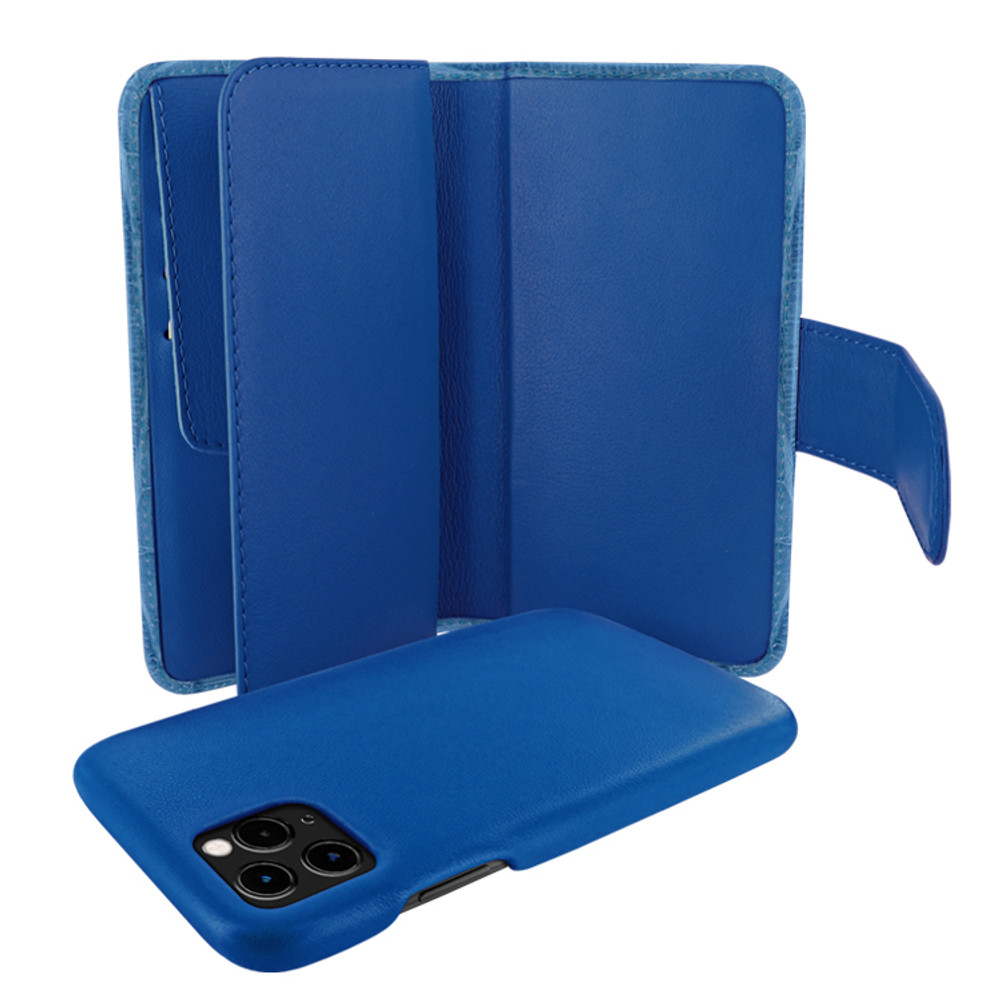 Piel Frama iPhone 11 Pro WalletMagnum Leather Case - Blue Cowskin-Crocodile