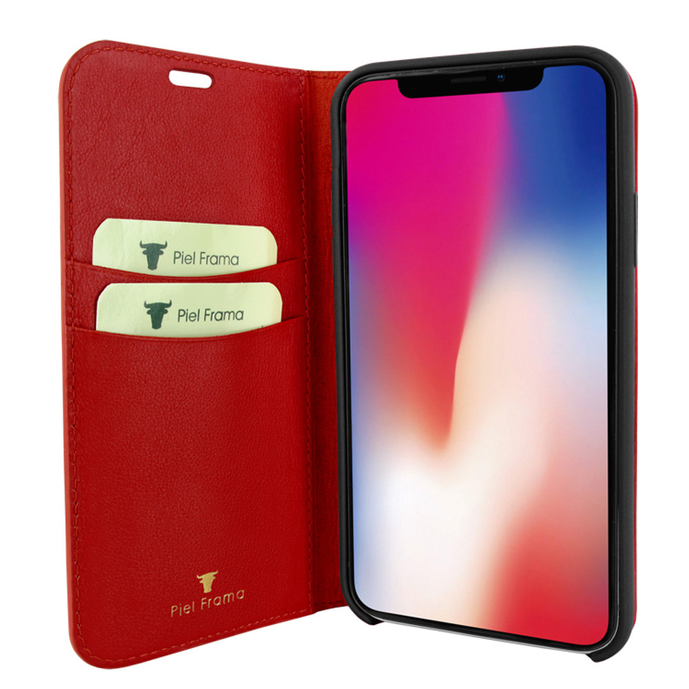 Piel Frama iPhone 11 Pro FramaSlimCards Leather Case - Red Cowskin-Crocodile