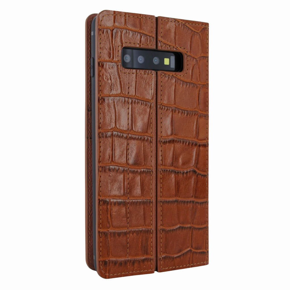 Piel Frama Samsung Galaxy S10 PLUS FramaSlimCards Leather Case - Brown Cowskin-Crocodile