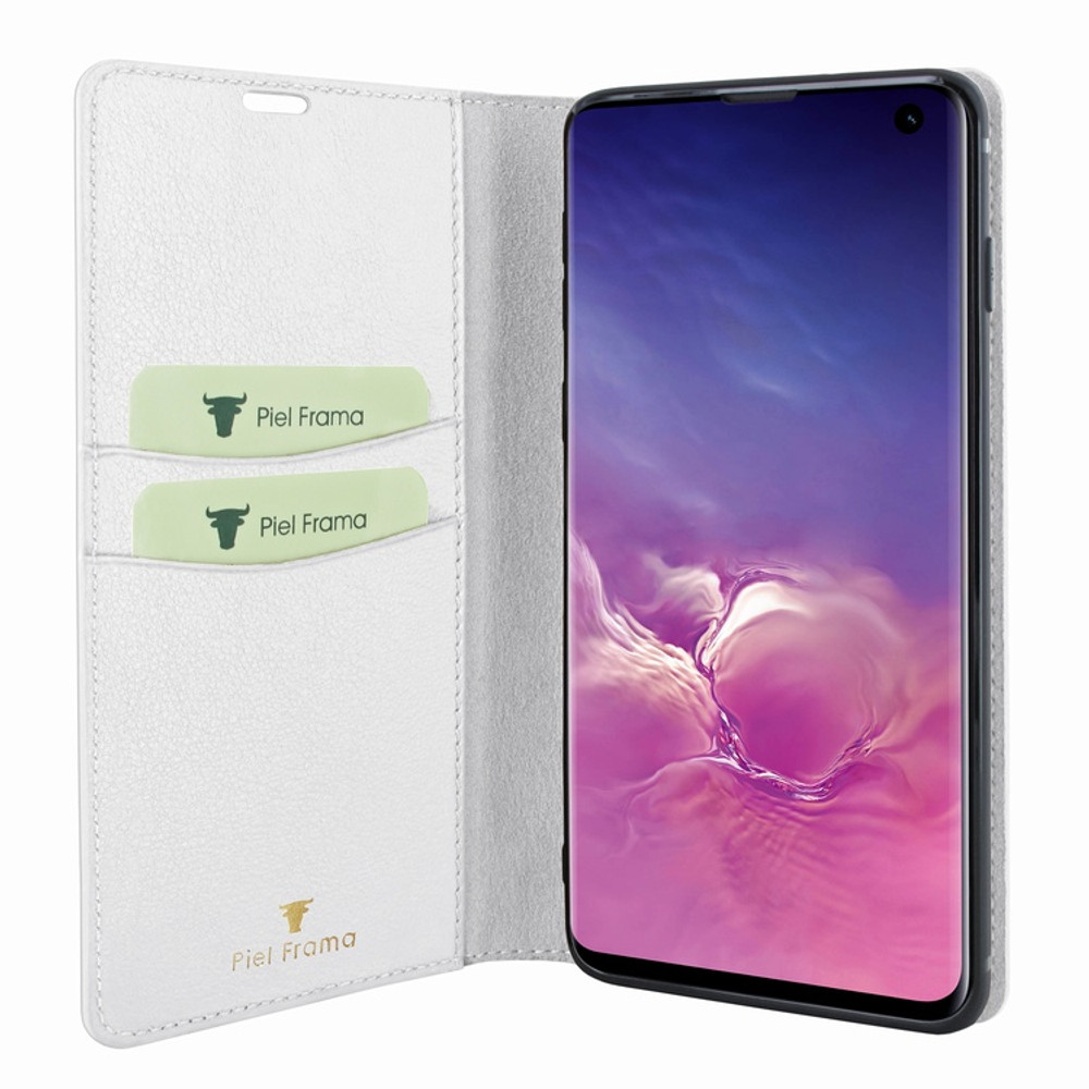 Piel Frama Samsung Galaxy S10 FramaSlimCards Leather Case - White