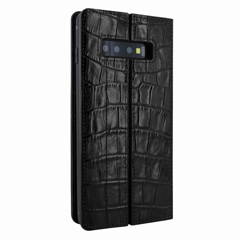 Piel Frama Samsung Galaxy S10 FramaSlimCards Leather Case - Black Cowskin-Crocodile