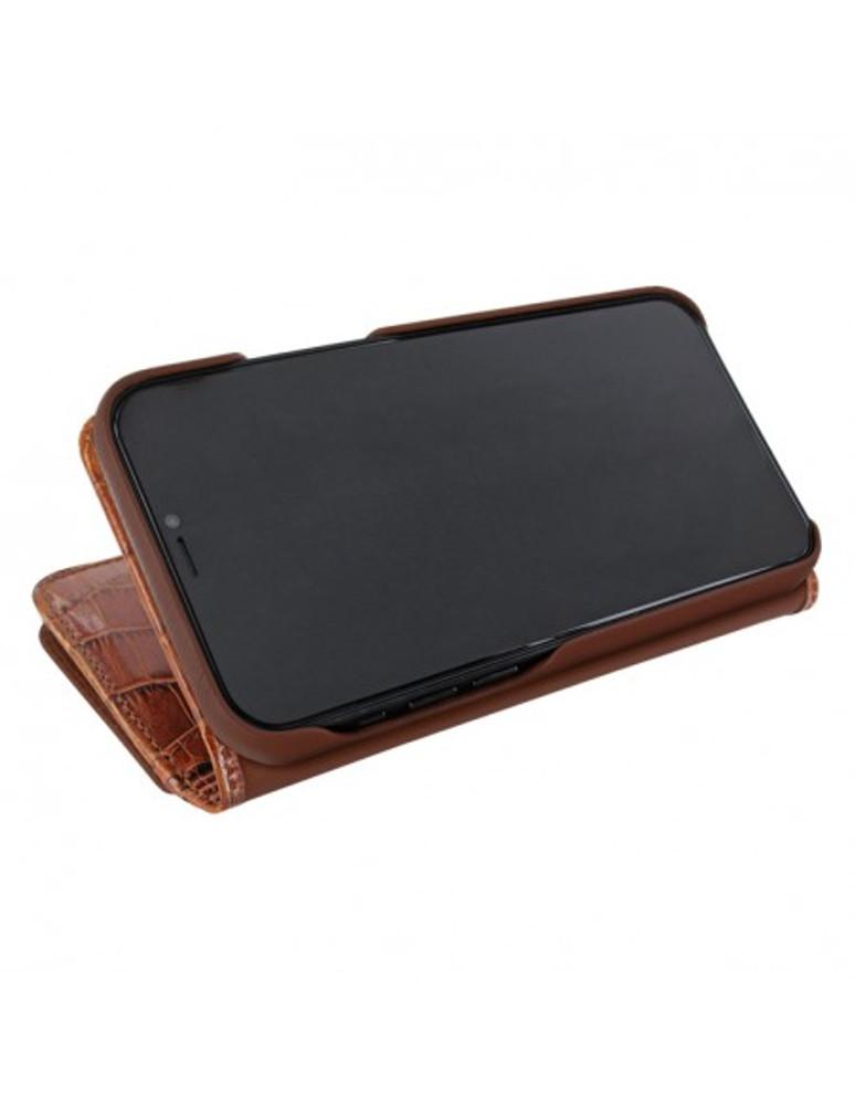 Piel Frama iPhone 13 Pro Max WalletMagnum Leather Case - Brown Crocodile