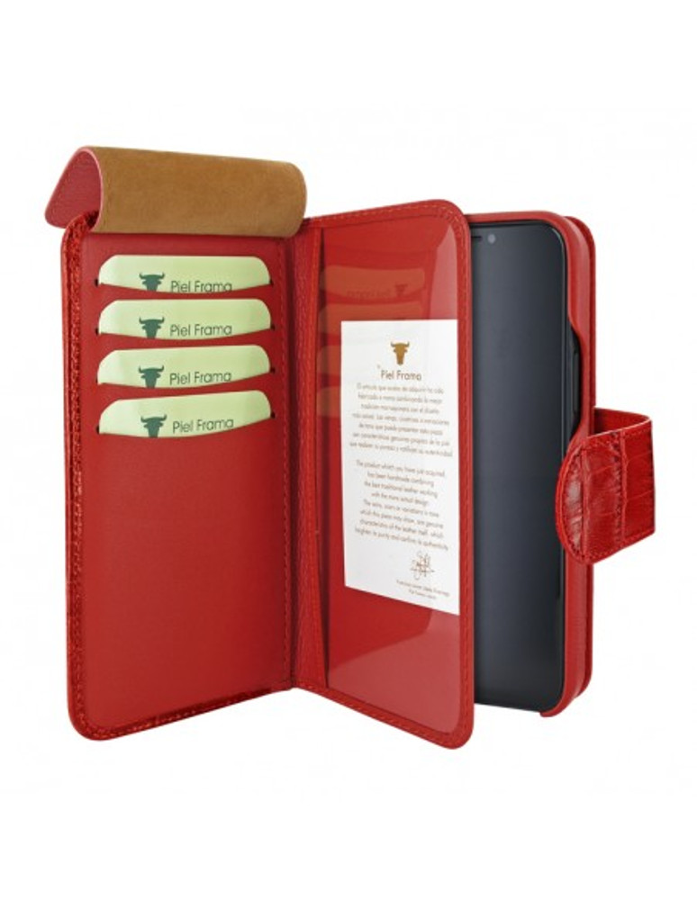 Piel Frama iPhone 13 Pro WalletMagnum Leather Case - Red Crocodile