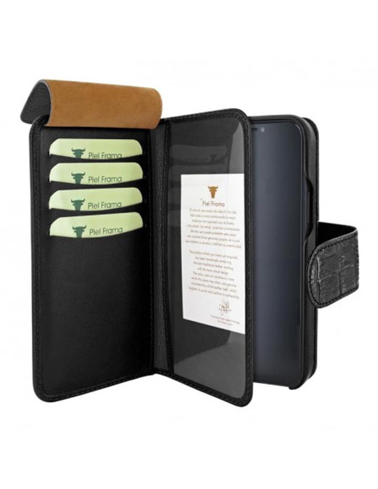 Piel Frama iPhone 13 WalletMagnum Leather Case - Black Crocodile