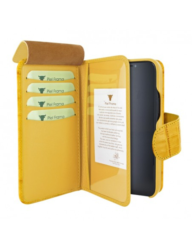 Piel Frama iPhone 12   12 Pro WalletMagnum Leather Case - Crocodile Yellow