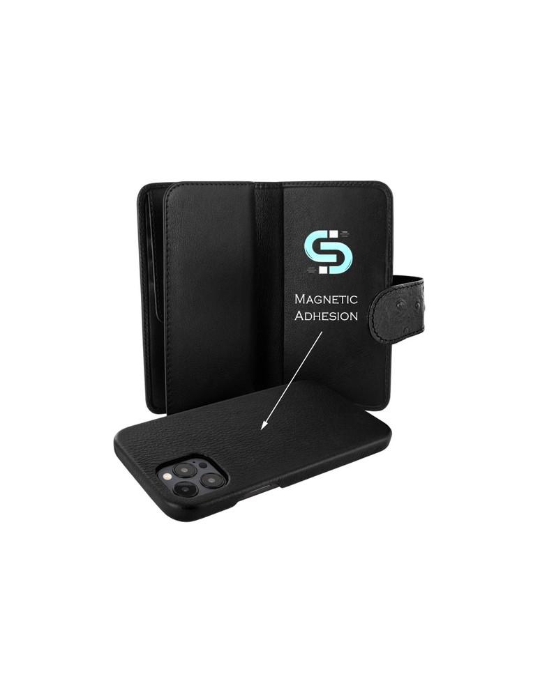 Piel Frama iPhone 12 Pro Max WalletMagnum Leather Case - Ostrich Black