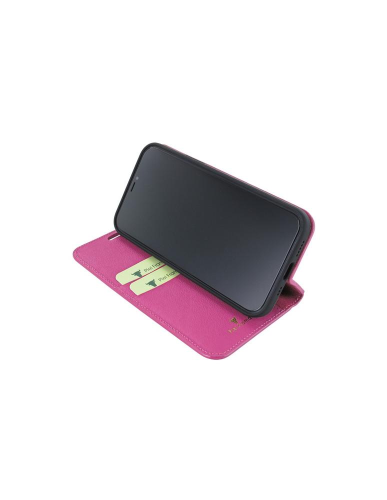 Piel Frama iPhone 12   12 Pro FramaSlimCards Leather Case - Fuchsia Crocodile
