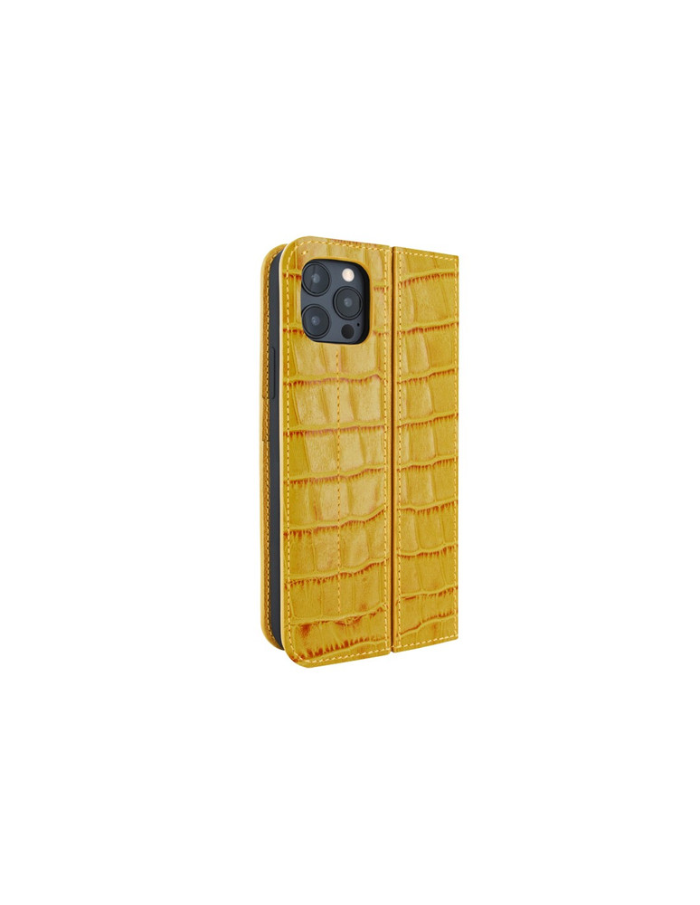 Piel Frama iPhone 12 | 12 Pro FramaSlimCards Leather Case - Yellow Crocodile