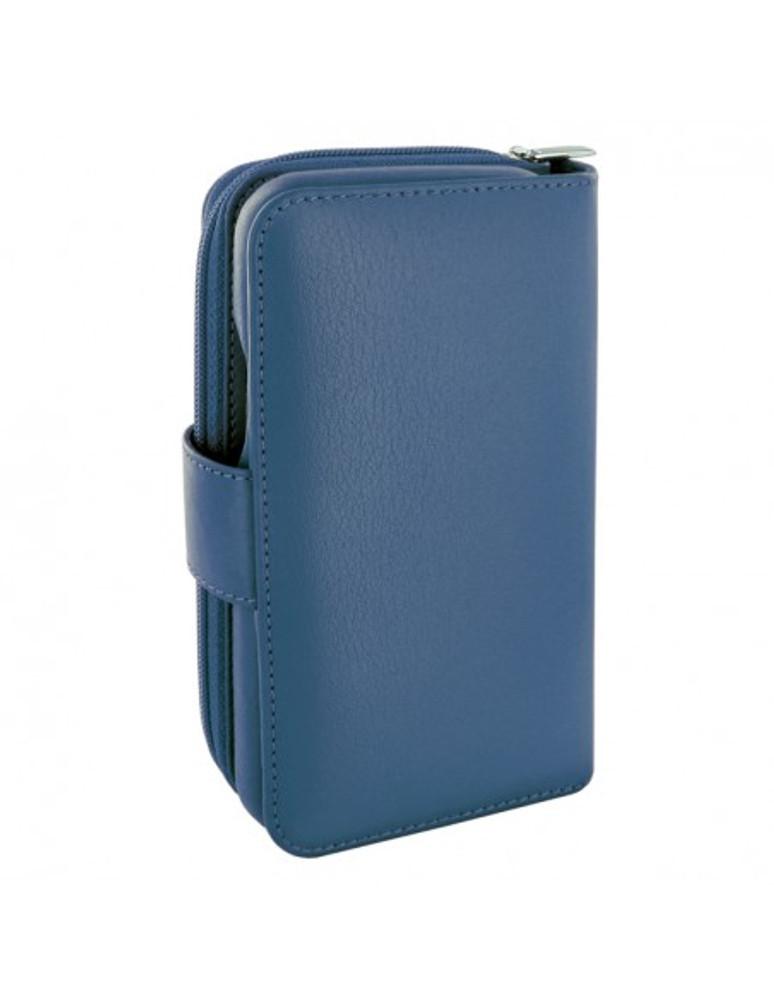 Piel Frama iPhone 12   12 Pro ZipperWallet Leather Case - Blue