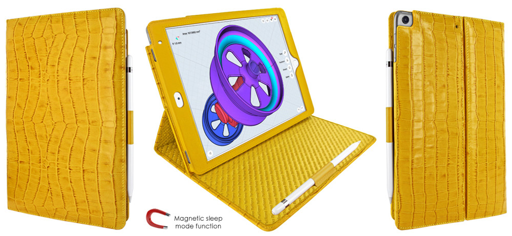 Piel Frama iPad Air 2019 | iPad 10.2 2019 Cinema Leather Case - Yellow Crocodile