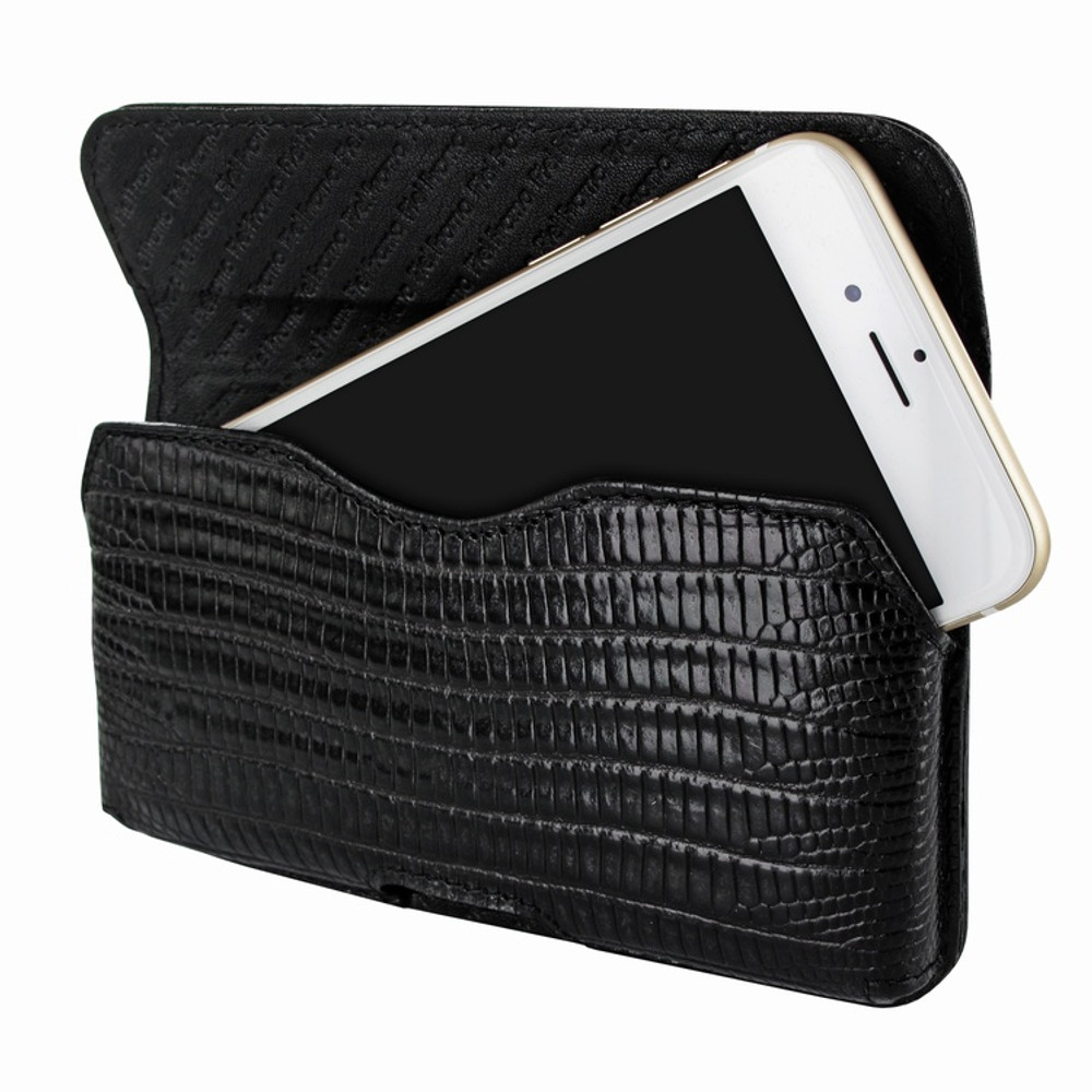 Piel Frama iPhone 6 / 6S / 7 / 8 Horizontal Pouch Leather Case - Black Cowskin-Lizard