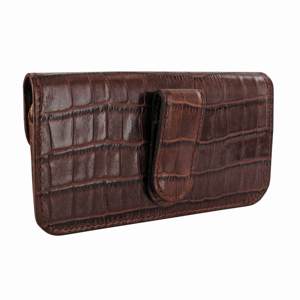 Piel Frama iPhone 6 / 6S / 7 / 8 Horizontal Pouch Leather Case - Brown Cowskin-Crocodile