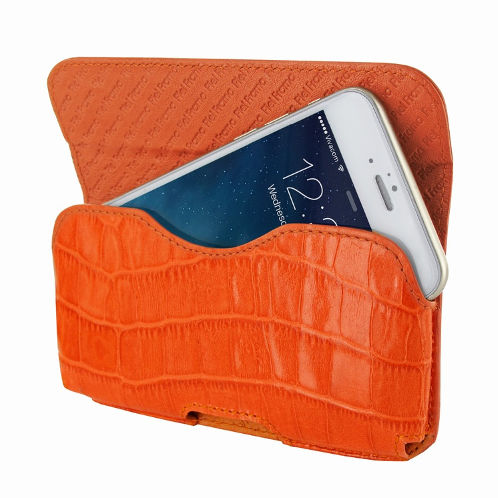 Piel Frama iPhone 6 / 6S / 7 / 8 Horizontal Pouch Leather Case - Orange Cowskin-Crocodile