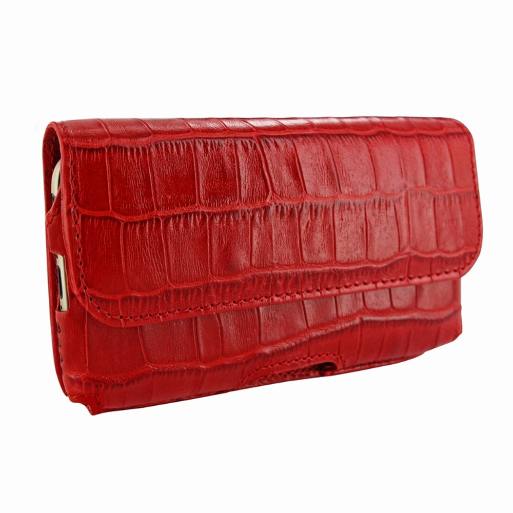 Piel Frama iPhone 6 / 6S / 7 / 8 Horizontal Pouch Leather Case - Red Cowskin-Crocodile