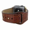 Piel Frama Apple Watch 38 mm Leather Strap - Brown Cowskin-Crocodile / Gold Adapter