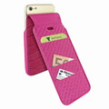 Piel Frama iPhone 7 / 8 iMagnumCards Leather Case - Fuchsia Cowskin-Crocodile