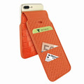 Piel Frama iPhone 7 Plus / 8 Plus iMagnumCards Leather Case - Orange Cowskin-Crocodile
