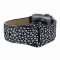 Piel Frama Apple Watch 42 mm Leather Strap - Black Cowskin-Stingray / Silver Adapter