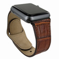 Piel Frama Apple Watch 42 mm Leather Strap - Brown Cowskin-Crocodile / Black Adapter