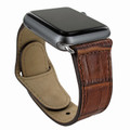 Piel Frama Apple Watch 42 mm Leather Strap - Brown Cowskin-Crocodile / Silver Adapter