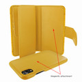 Piel Frama iPhone XR WalletMagnum Leather Case - Yellow Cowskin-Crocodile