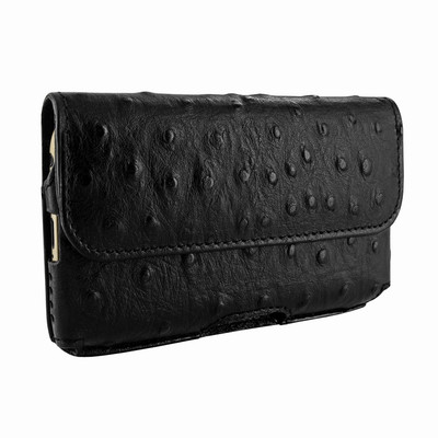 Piel Frama iPhone 6 Plus / 6S Plus / 7 Plus / 8 Plus Horizontal Pouch Leather Case - Black Cowskin-Ostrich