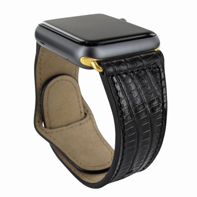 Piel Frama Apple Watch 38 mm Leather Strap - Black Cowskin-Lizard / Gold Adapter