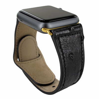 Piel Frama Apple Watch 38 mm Leather Strap - Black Cowskin-Ostrich / Gold Adapter