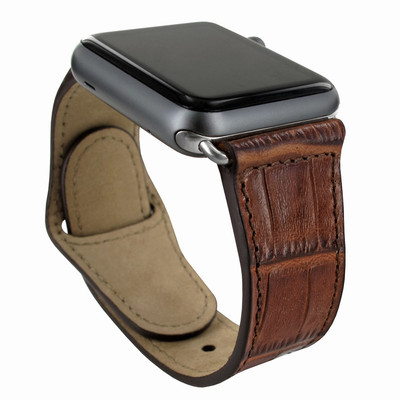 Piel Frama Apple Watch 38 mm Leather Strap - Brown Cowskin-Crocodile / Silver Adapter
