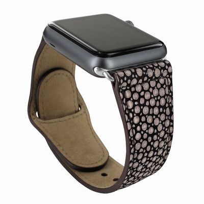 Piel Frama Apple Watch 38 mm Leather Strap - Brown Cowskin-Stingray / Silver Adapter