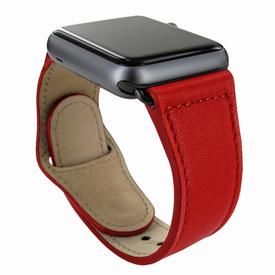 Piel Frama Apple Watch 38 mm Leather Strap - Red / Black Adapter