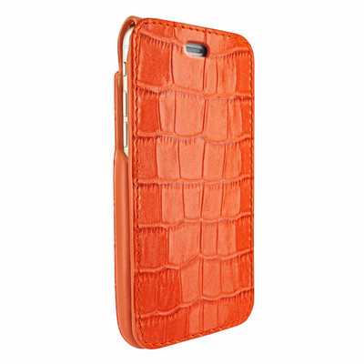 Piel Frama iPhone 7 / 8 iMagnumCards Leather Case - Orange Cowskin-Crocodile