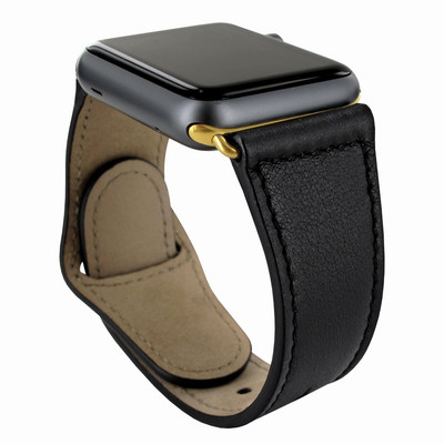 Piel Frama Apple Watch 42 mm Leather Strap - Black / Gold Adapter