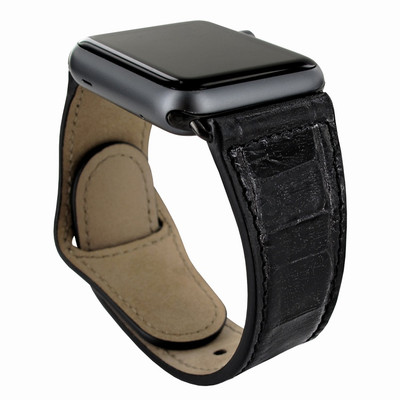 Piel Frama Apple Watch 42 mm Leather Strap - Black Cowskin-Crocodile / Black Adapter