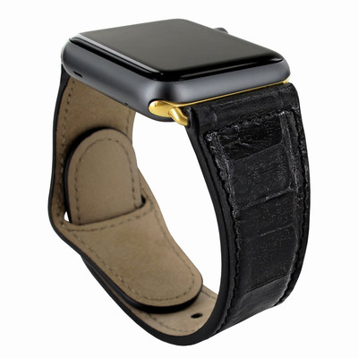 Piel Frama Apple Watch 42 mm Leather Strap - Black Cowskin-Crocodile / Gold Adapter