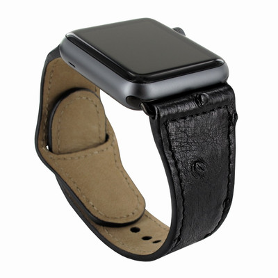 Piel Frama Apple Watch 42 mm Leather Strap - Black Cowskin-Ostrich / Black Adapter