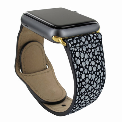 Piel Frama Apple Watch 42 mm Leather Strap - Black Cowskin-Stingray / Gold Adapter