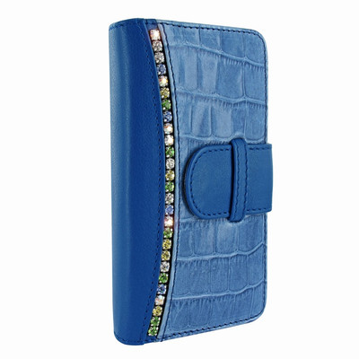 Piel Frama iPhone 7 Plus / 8 Plus WalletMagnum Leather Case - Blue Swarovski Cowskin-Crocodile