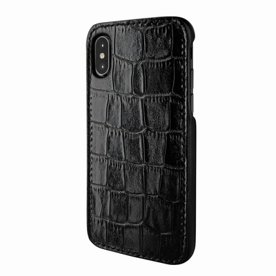 Piel Frama iPhone X / Xs FramaSlimGrip Leather Case - Black Cowskin-Crocodile