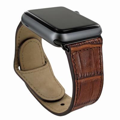 Piel Frama Apple Watch 42 mm Leather Strap - Brown Cowskin-Crocodile / Black Adapter