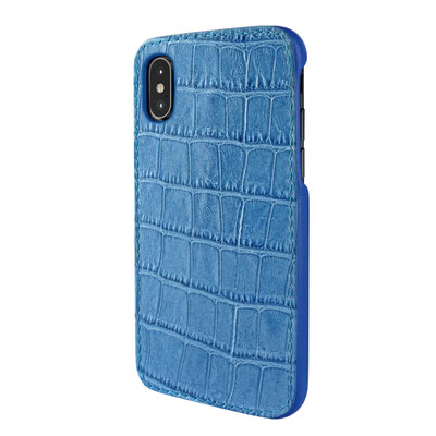 Piel Frama iPhone X / Xs FramaSlimGrip Leather Case - Blue Cowskin-Crocodile