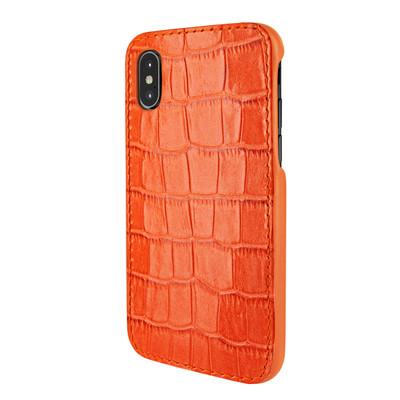 Piel Frama iPhone X / Xs FramaSlimGrip Leather Case - Orange Cowskin-Crocodile
