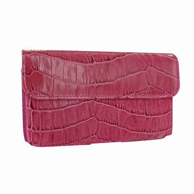 Piel Frama iPhone X / Xs Horizontal Pouch Leather Case - Fuchsia Cowskin-Crocodile
