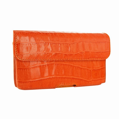 Piel Frama iPhone X / Xs Horizontal Pouch Leather Case - Orange Cowskin-Crocodile