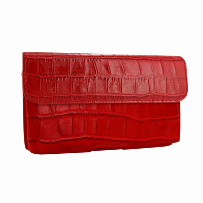 Piel Frama iPhone X / Xs Horizontal Pouch Leather Case - Red Cowskin-Crocodile