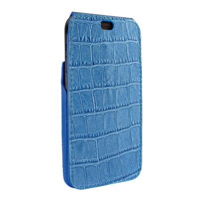 Piel Frama iPhone X / Xs iMagnum Leather Case - Blue Cowskin-Crocodile